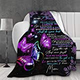 AMITAYUS Ultra Soft Light Weight Throw Blanket Boho Butterfly to My Daughter from Mom Comfy Fluffy Quilt for Bed Couch Sofa Living Room Suitable All Seasons 60'X50' Twin for Teen