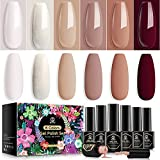 MEFA Gel Nail Polish Set - Nude Brown Kit with Stickers Glow In The Dark Modern Ladies Neutral Classic Nail Gel All Scenes Gifts for Women Girls Soak-Off Gel Nail Kit Portable 6 Colors Coffee Khaki