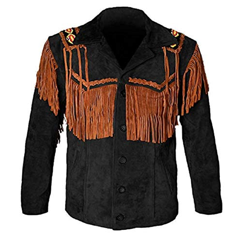 LEATHERAY Chaquetas de cuero occidentales para hombres Chaqueta de cuero de vaquero y franja con cuentas capa de gamuza camisa de cuero
