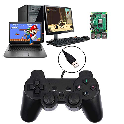 USB Wired Game Controllers for PC/Raspberry Pi Gamepad Remote Controller Plug and Play Dual Shock Gaming Joypad Joystick for Desktop Laptop PC(Windows XP/7/8/10) & Roblox/Steam/RetroPie/RecalBox
