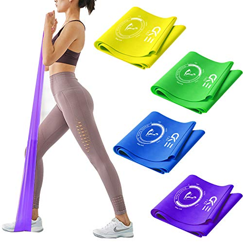 CKE Resistance Bands Set Exercise Bands Professional Latex Resistance Bands for Physical Therapy Pilates Yoga Rehab Strength Training Elastic Bands for Exercise [4 Color Resistance Level]