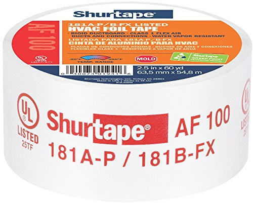 Shurtape AF 100 UL 181A-P/B-FX Listed/Printed Aluminum Foil HVAC Tape with EasyPeel Paper Liner, HVAC Joint Sealing Tape, 2.5' x 60 Yards, Silver, 1 Roll (155206)