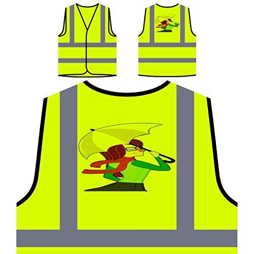 Regen Herbst Regenschirm Personalisierte High Visibility Gelbe Sicherheitsjacke Weste o755v