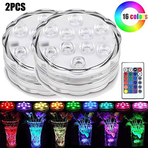 OurLeeme Unterwasser Licht, Bunt Wasserdicht 10LED RGB Multi Farbwechsel Teichbeleuchtung Tauchbare Lampe mit Fernbedienun für Behälter Pool (2PCS)