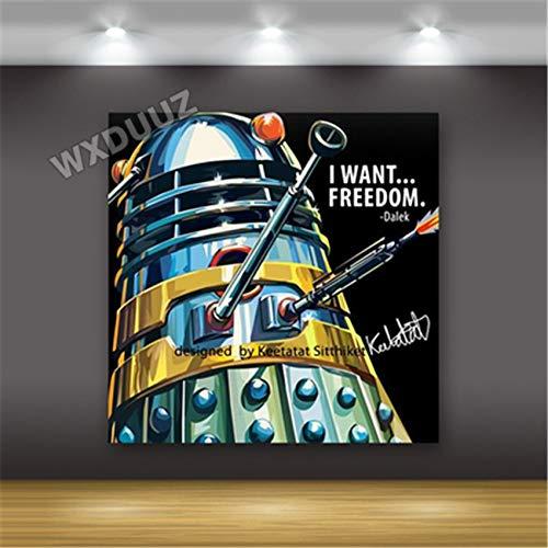 SDFSD Classic Hollywood Science fiction Movie Cartoon Superhero Avatar Poster Home Decor Bedroom Kids Room wall art canvas painting 60 * 60cm E