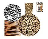 Serves 30 | Complete Party Pack | Jungle Safari Zoo Animal Print Party...