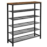 VASAGLE INDESTIC Shoe Rack, Shoe Storage Organizer with 5 Mesh Shelves and Large Surface for Bags, Shoe Shelf...
