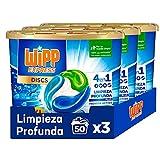 Wipp Express DISCS 4 en 1, Limpieza Profunda Plus, Detergente en Cápsulas para Lavadora, 50 Discos - Pack de 3, Total: 150 Dosis
