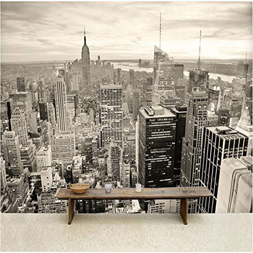 Guokaixyz fotobehang New York City zwart-wit-landschap behang behang voor eetkamer woonkamer kantoor 3D wandbehang vlies 140x200cm