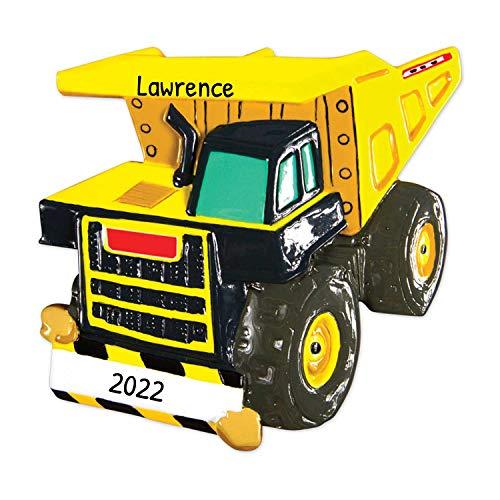 Personalized Dump Truck Christmas Tree Ornament 2020 - Yellow Mighty Lift Toy Machine Eye Tonka Caterpillar Construction Boy Toddler Holiday Pixar Car Colossus XXL Kid Gift Year - Free Customization