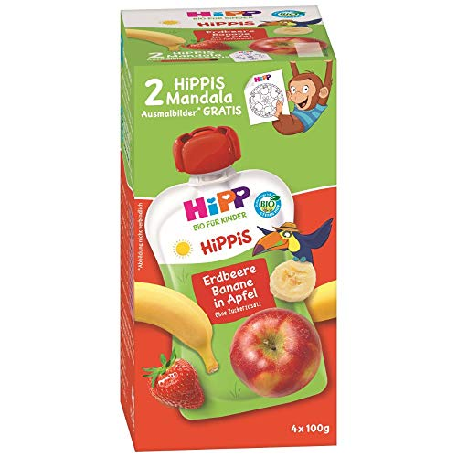 HiPP HiPPiS Quetschbeutel Vorteilspack, Erdbeere-Banane in Apfel, 100% Bio-Früchte ohne Zuckerzusatz, 4 x 4 Beutel à 100 g