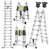 LZQ Escalera plegable telescópica de aluminio, diseño telescópico, 16 peldaños, 90 cm hasta 5 m, soporta hasta 150 kg