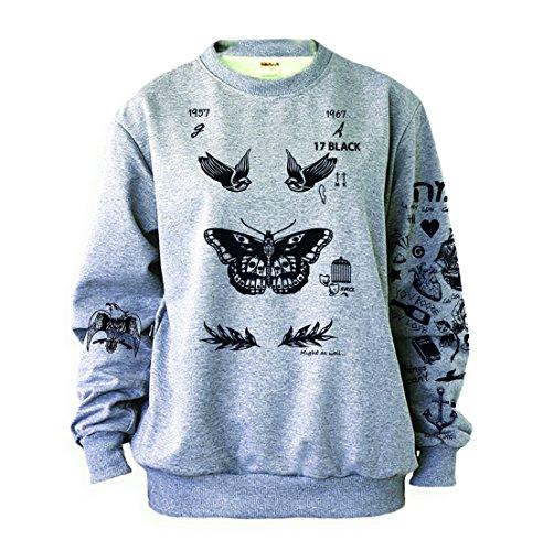 Noonew Damen Schmetterling Tattoos Sweatshirt Grau -  Grau -  Medium