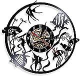 zgfeng Betta Fish Reloj de Pared Abstracto Colgante de Pared Acuario Lámpara de Pared LED Goldfish Bowl Reloj de Registro de Vinilo para Amantes de los Peces de Colores