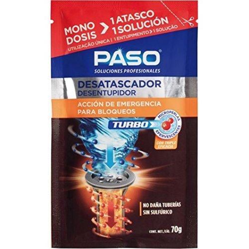 Paso CE705020 Desatascador Tuberías Químico Microperlas Monodosis Turbo, Gris, 0