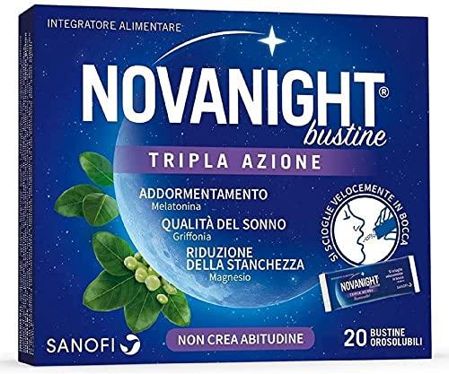 Novanight Bustine Tripla Azione Integratore alimentare con melatonina, griffonia e Magnesio, si scioglie velocemente in bocca. Senz acqua - 20 bustine orosolubili