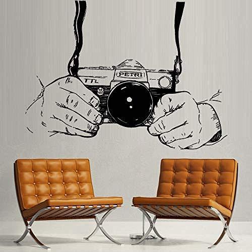 Wandaufkleber,Moderne kreative Fotostudio Aufkleber Aufkleber Kamera Hand Umfrage Salon Design Raum Retusche Salon Vinyl Wandtattoo Aufkleber 42X67cm