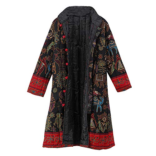 TOPKEAL Jacke Mantel Damen Herbst Winter Sweatshirt Drucktaste Steppjacke Kapuzenjacke Jahrgang Hoodie Langarm Vintage Pullover Warmer Outwear Coats Mode Tops