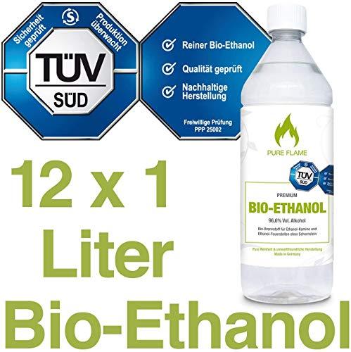 Bioethanol 96,6% – 12 x 1L Flaschen zum handlichen Gebrauch - TÜV geprüfte Reinheit, Qualität, Sicherheit & nachhaltige Herstellung - Made in Germany