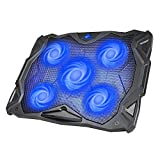 Havit 5 Fans Laptop Cooling Pad for 14-17 Inch Laptop, Cooler Pad with LED Light, Dual USB 2.0 Ports, Adjustable Mount Stand (Blue)