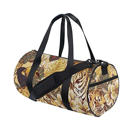 ZOMOY Bolsa de Deporte,Tigre Tropical Tucán De Bengala,Nuevo de Cubo de impresión Bolsas de Ejercicios Bolsa de Viaje Equipaje Bolsa de Lona