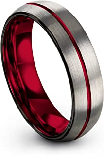 Tungsten Carbide Wedding Band Ring 6mm for Men Women Green Red Fuchsia Copper Teal Blue Purple Black Center Line Dome Grey Brushed Polished