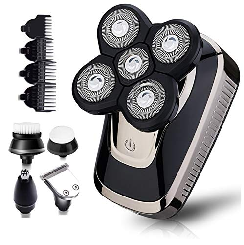 Electric Razor for Men, Dee Banna 5 in 1 Head Shavers for Bald Men Rotary Shavers Beard Trimmer Grooming Kit Wet Dry 5 Headed Shaver, Cordless Waterproof Electric Shaver (Silver- Black)
