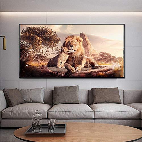 Leinwanddrucke Moderne Löwen Mutter und Baby Leinwandbilder Poster und Drucke Tier Leinwand Wandkunst Bilder Wohnkultur-60x90cm Kein Rahmen