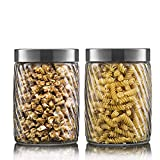 Glass Pumpkin Jar with Lid,Food Storage Airtight Jar with Glass Lid for Cereals, Toffees, Cookies, Snacks | 1500 ML | (2)