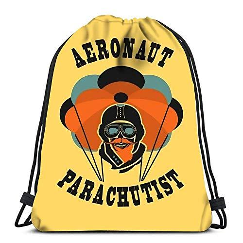 Lmtt Kordelzug Rucksack Taschen Retro-Stil Schädel Dead Parachutist Helm Pilot Fallschirm sollte Head Folding Cinch Bag Taschen Sein