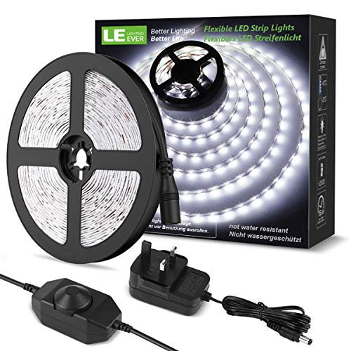 LE 5M LED Strips Lights Kit, Dimmable, 1200lm, Daylight White 6000K, Plug and Play LED Tape Light for Home Kitchen Bedroom and More, 12V Power Supply and Dimmer Switch Included