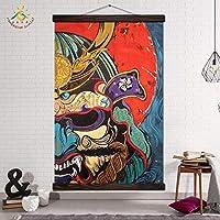 抽象的な壁アートポスターとキャンバスプリント壁の写真ヴィンテージ壁アート写真カラフルなマスク侍イラスト