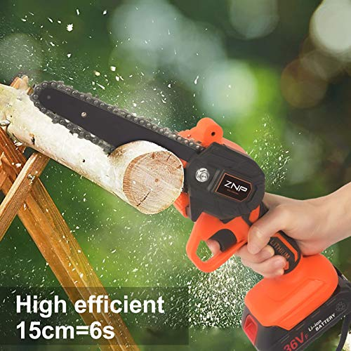 Mini Chainsaw Cordless Power Chain Saws, 6-Inch Portable 36V Battery Chainsaw, One-Hand Operated Electric Saw for Courtyard Tree Branch Wood Cutting (2pcs Batteries + 2pcs Chain)