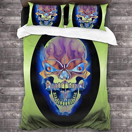 shenguang Skull Pirate 3-Piece Bedding Set,All-Season Quilt Duvet Cover with 2 Pillowcases, Soft Zipper Bedspread Coverlet No Comforter 86'x70'
