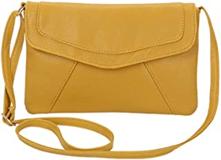 FengheYQ Women's Bags PU(Polyurethane) Crossbody Bag Zipper Solid Color Retro Simple Multi-Color Optional Size:25 * 17 * 3cm (Color : Yellow)