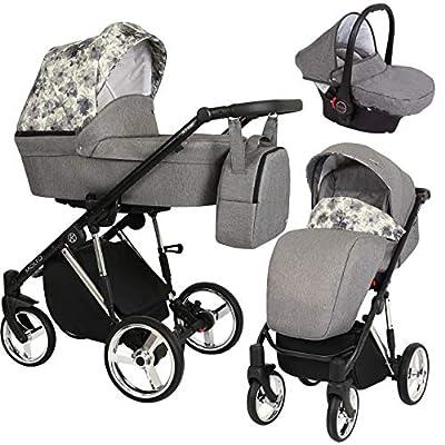 Kunert cochecito de bebé MOLTO PREMIUM silla de paseo silla de coche asiento de bebé juego completo 3 en 1 (Tela vaquera con grafito con flores, Color del marco: Plata, 3en1)