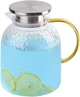 WarmCrystal, The Glass Water Pitcher with Lid and Handle, Glass Tea Pitcher, Carafe, Teapot and Jug for Coffee, Juice, Ice Water and Flower Tea (61 oz)