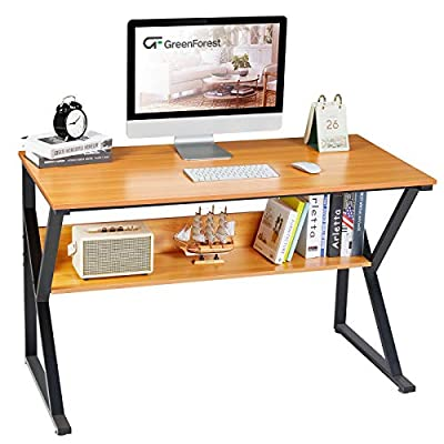 """GreenForest Computer Desk with Bookshelf 47"""" Industrial Gaming Writing Desk Space Saving Study Laptop Table Workstation for Home Office, Brown"""