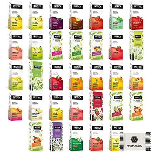 INSTICK   Zuckerfreies Instantgetränk - Mix-Paket mit 24 Geschmäckern   24 x 1,5 Liter + Gratis Womanda Dextro Energy