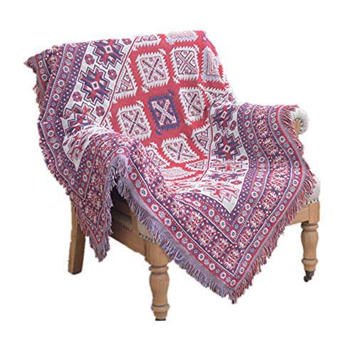 Decken Fransen leicht & kuschelig,Sofabezug im amerikanischen Ethno-Stil,130x180 cm,Linen & Cotton Sofadecke rot-Bettüberwurf/Kuscheldecke/Überwurf/Sesseldecke/Plaid