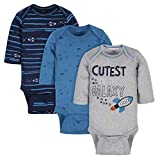 GERBER Baby Boys 3-Pack Long-Sleeve Onesies Bodysuit, Space, 3-6 Months