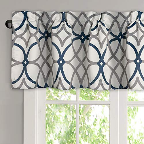 H.VERSAILTEX Blackout Curtain Valances for Kitchen/Bathroom - Thermal Insulated Window Valances for Living Room/Bedroom Rod Pocket Short Curtain 1 Panel, 52x18 inch, Geo in Grey and Navy