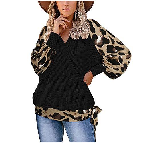 Blusa para Mujer Casual, 2020 Moda para Mujer Leopardo de Manga Larga Costura con Cuello en V Blusa de suéter...