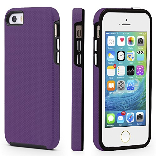 iPhone 5/5s/SE Case, CellEver Dual Guard Protective Shock-Absorbing Scratch-Resistant Rugged Drop Protection Cover for iPhone 5/5S/SE (Purple)