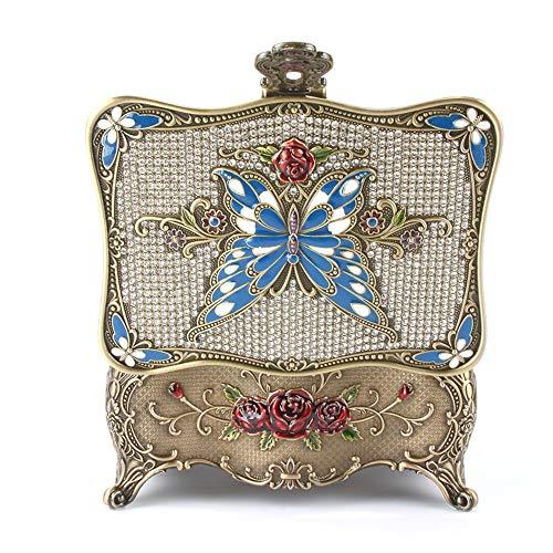 joyeros,Joyero de mariposa con incrustaciones de diamantes vintage, joyero de espejo con mariposa de bloqueo
