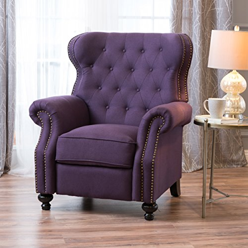 Waldo Tufted Wingback Recliner Chair(Plum)