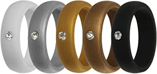Simpleonly Women Silicone Wedding Band with Rhinestone, 5.7mm Wide