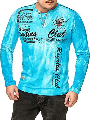 Violento Herren verwaschen Longshirt | Sailing Club Design 859 (M, Türkis 859)