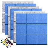 Uoisaiko Azulejos de fieltro grandes de 30 x 30 cm con 30 pines, paquete de 6 tablones de anuncios para el hogar, la oficina, la cocina, azulejos de pared autoadhesivos para fotos y notas