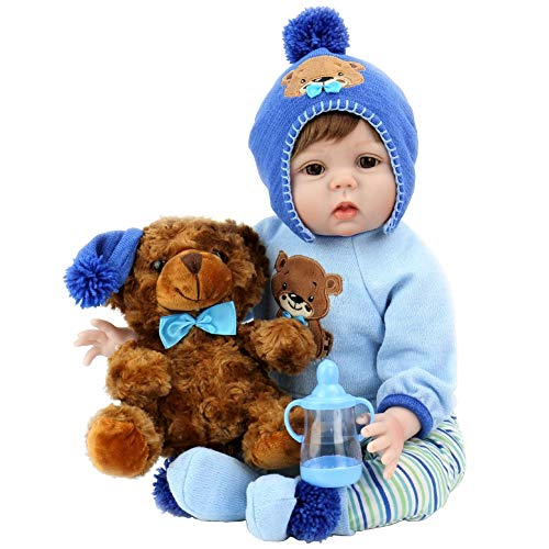 Aori Realistic Baby Doll Lifelike Reborn Baby Boy Doll 22 Inch with Plush Teddy Accessories